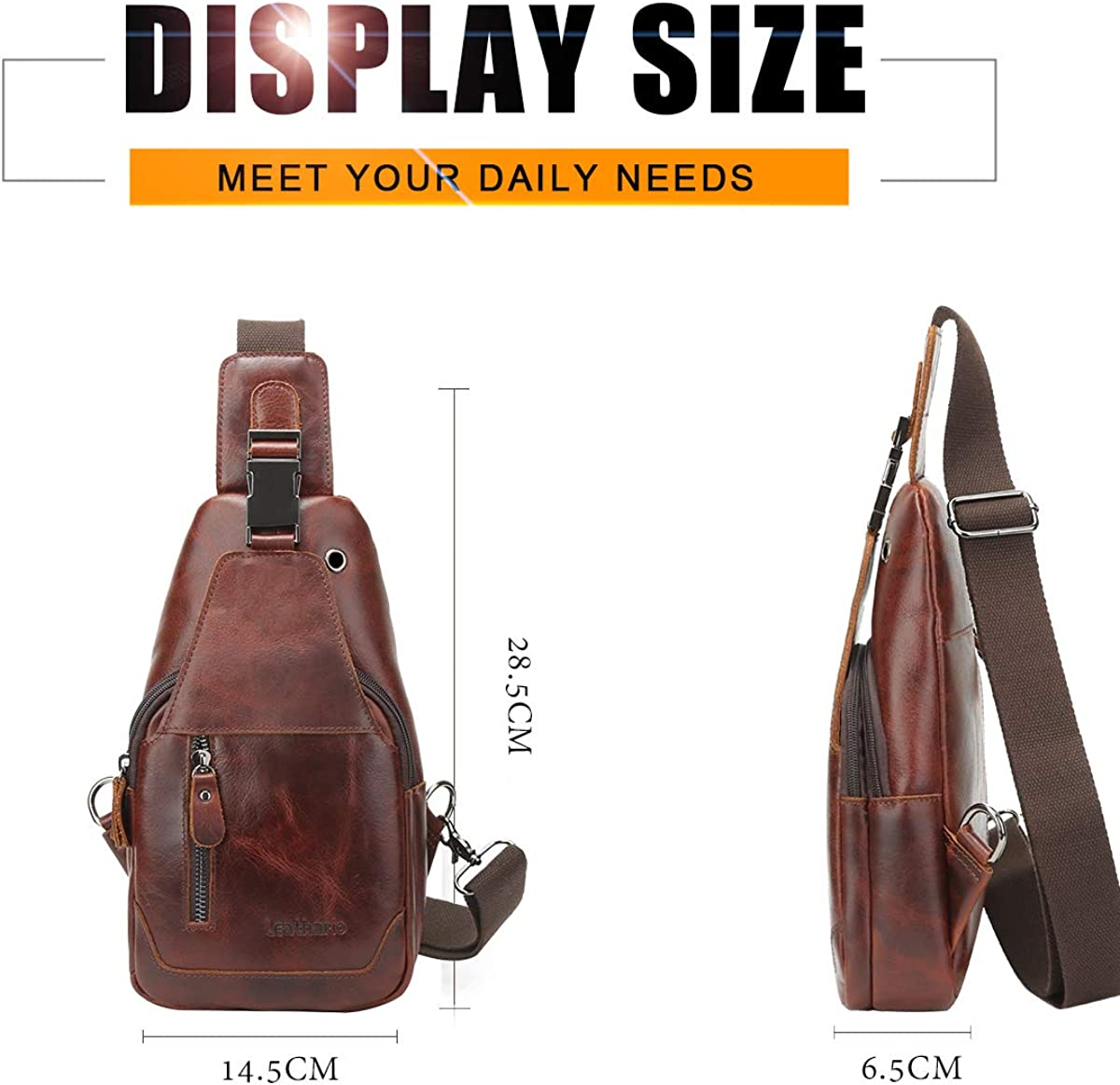 Leathario Crossbody Bag Men Genuine Leather Sling Bag Chest Shoulder Bag Headphone Hole Vintage Multipurpose Anti Theft Business Casual Outdoor Travel Brown