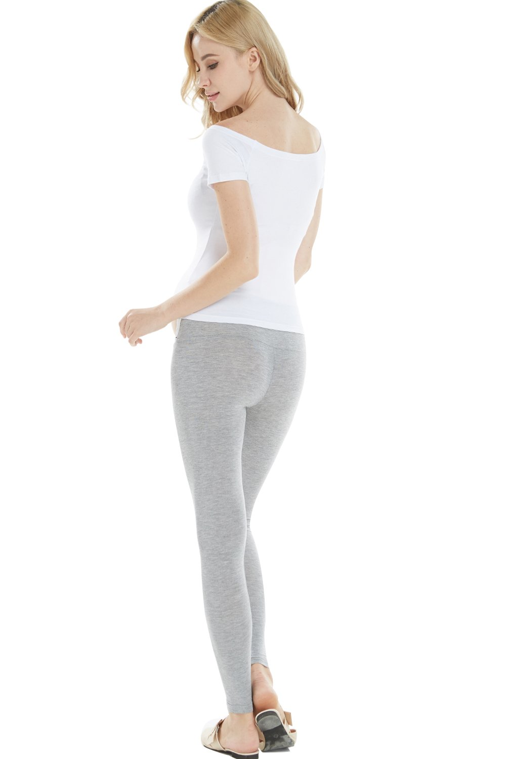 Cozyonme Maternity Pants Leggings Pregnancy Support Jeggings Capris Yoga Tights (Grey, XX-Large) by Cozyonme (Image #5)