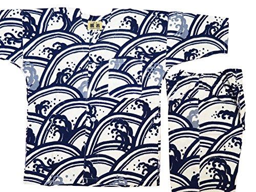 男性鉄道駅どうやって【青海波に波濤?白紺】 義若オリジナル子供鯉口シャツ上下セット