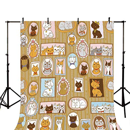 (Cat Stylish Backdrop,Family Tree of A Kitty with Portraits Domestic Feline Characters Gallery Humor Design Decorative for Photography,118