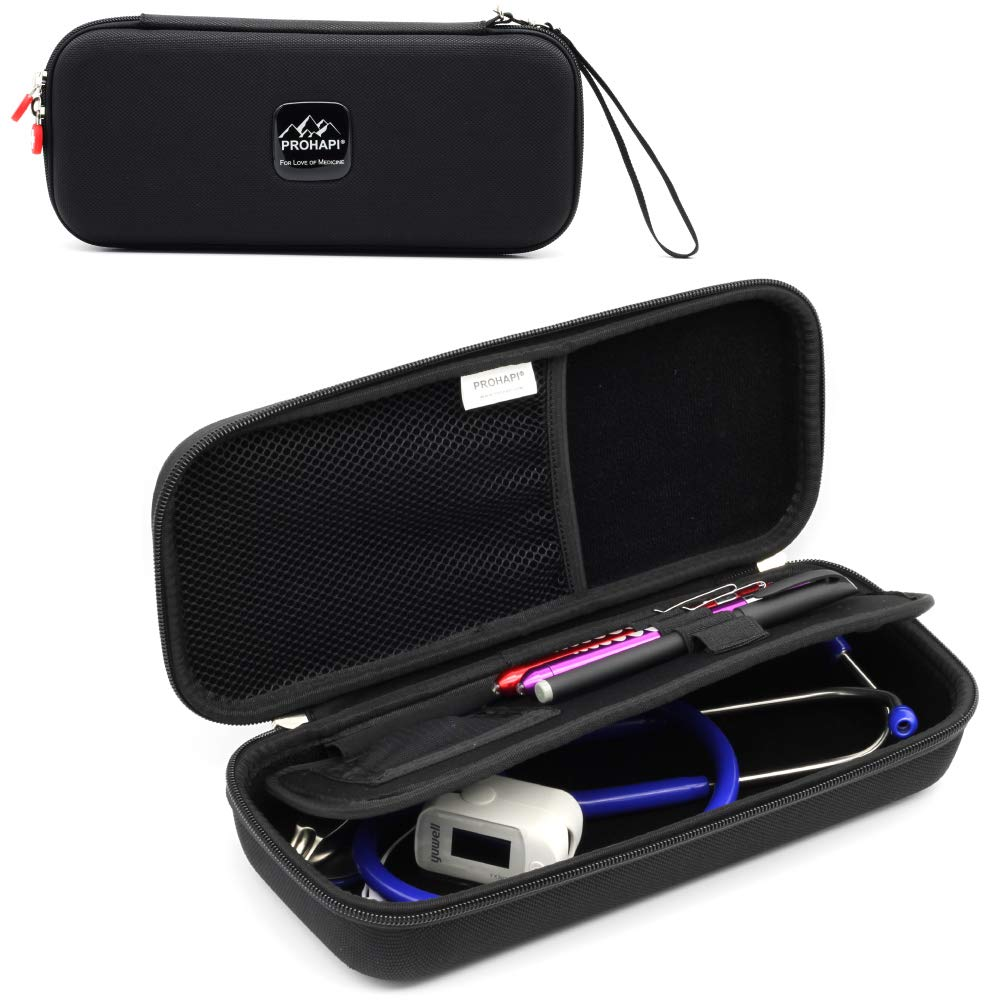Prohapi Hard Stethoscope Case with ID Slot Compatible with 3M Littmann/ADC/Omron Stethoscope Includes Mesh Pocket for Nurse Accessories