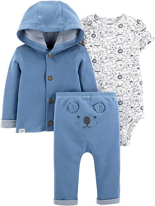 White 6 Months Carters Baby Boys or Girls Hooded Cardigan Sweater