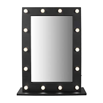 Ordinaire Ardisle 50cm X 40cm Modern Hollywood 14 LED Bulb Vanity Mirror Dressing Table  Mirror Black Beauty