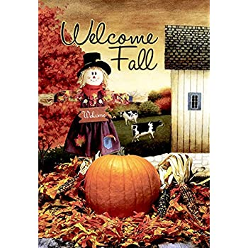 Morigins Welcome Fall Scarecrow Harvest Decorative House Flag (28x40 Inch)