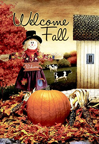 Morigins Welcome Fall Scarecrow Harvest Decorative House Flag Double Sided 28x40,Autumn Pumpkin Garden Yard Decorations from Morigins