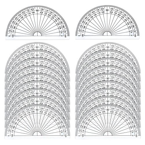 20 Pack Plastic Protractor, eBoot 180 Degrees Protractor for Angle Measurement Student Math, 4 Inches, Clear