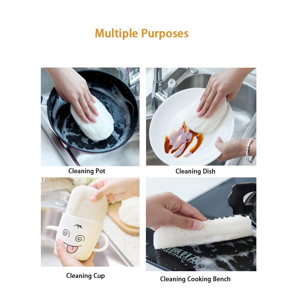 Ovale 10 PCS Naturel Loofah Nettoyage /Épurateur Cuisine Cuisine M/énage Sans Huile Brosse /À Laver