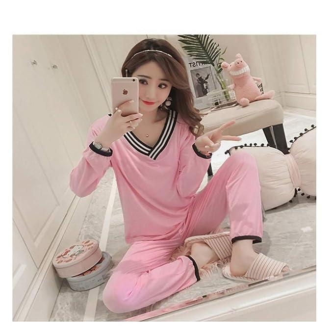 140e4a363 BOZEVON Mujer Embarazada Pijama de Lactancia Invierno Ropa - Un Juego de  Camisas de Algodón con Cuello en V Sueltas Tops + Pantalones Pijamas de  Lactancia ...