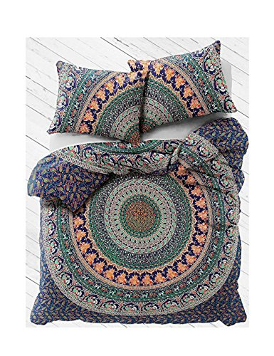 - The Stylam Indian Boho Street Reversible Beautiful Duvet Quilt Cover Coverlet Bohemian Set With Pillow Cover Twin Size 80