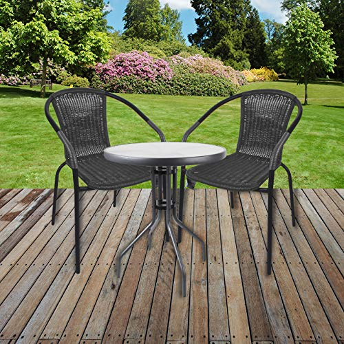 Marko-Bistro-Set-Grey-Wicker-Chairs-Round-Glass-Table-Rattan-Seat-Outdoor-Garden-Patio-Table-with-2-Chairs