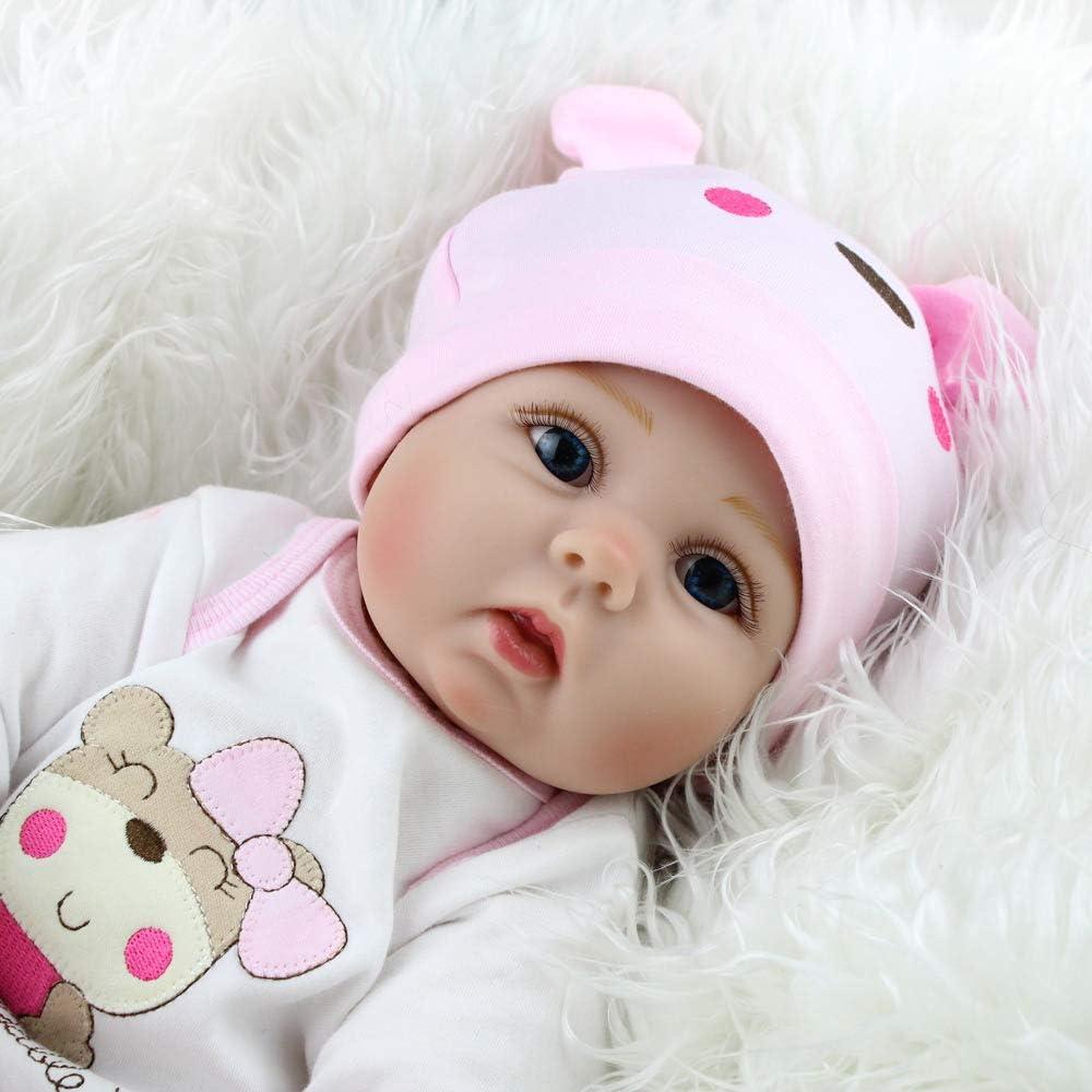 SYP Neugeboren Baby Puppe M/ädchen Weich Silikon Vinyl 22 Zoll 55 cm Magnetisch Mund Naturgetreue Spielzeug Handgemachtes Reborn Baby Doll