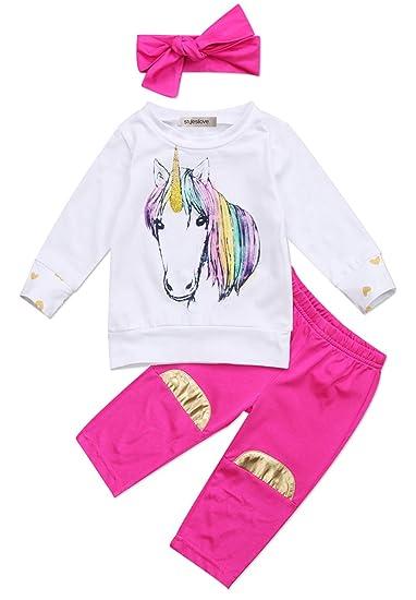 705014cc4 StylesILove Infant Baby Girl Unicorn Cotton Long Sleeve T-Shirt, Pants with  Self-
