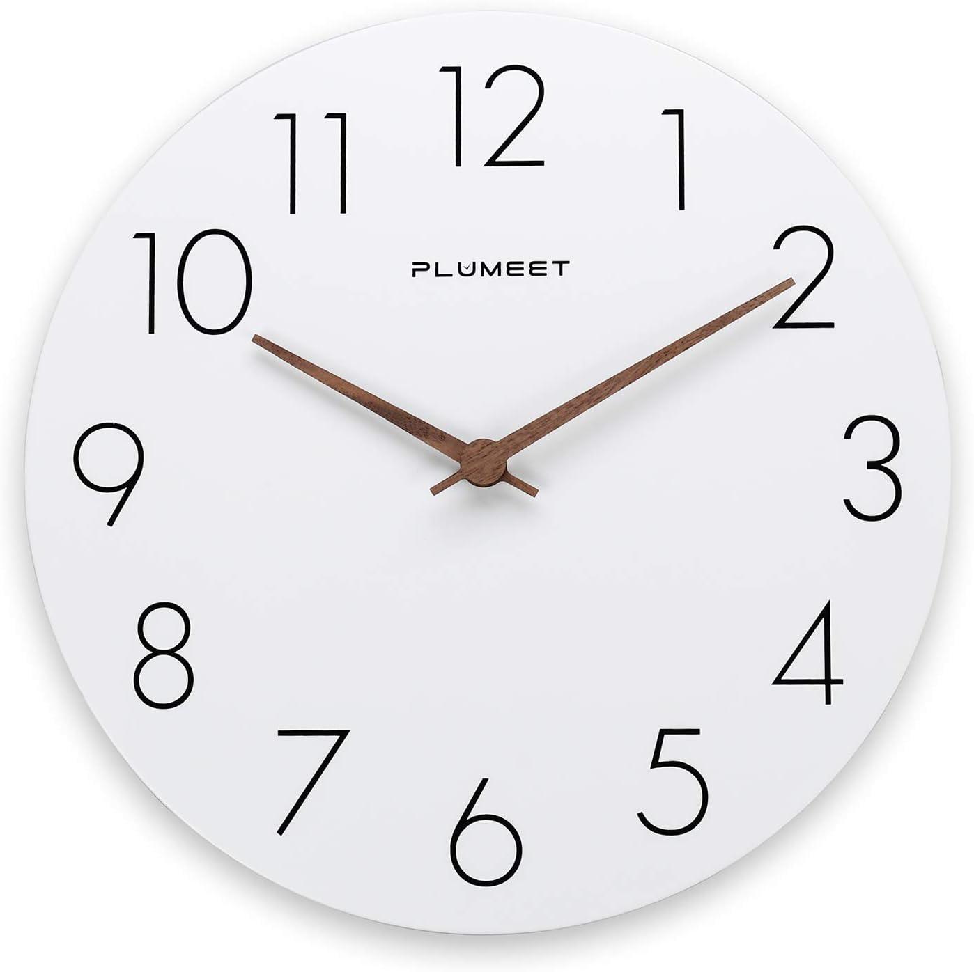Plumeet Reloj de Pared de Madera de 30cm Reloj de Pared sin Marco con Movimiento Silencioso de Cuarzo - Reloj Blanco de Estilo Simple Moderno Decoración de la Sala Cocina - Alimentado por Batería