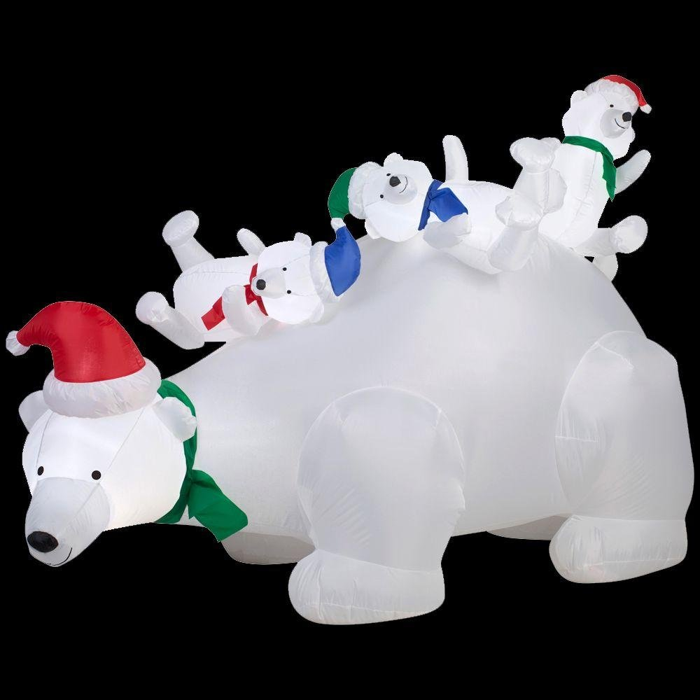 6 Foot Airblown Inflatable Mama Polar Bear Playing With Cubs Scene Outdoor Christmas Yard Decoration Holiday by Home Improvements