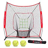 Rukket 6pc Softball Bundle | 7x7 Hitting Net | Batting, Pitching, Catching Screen | Includes Bow Frame Net, 3 Softballs, Strike Zone and Carry Bag