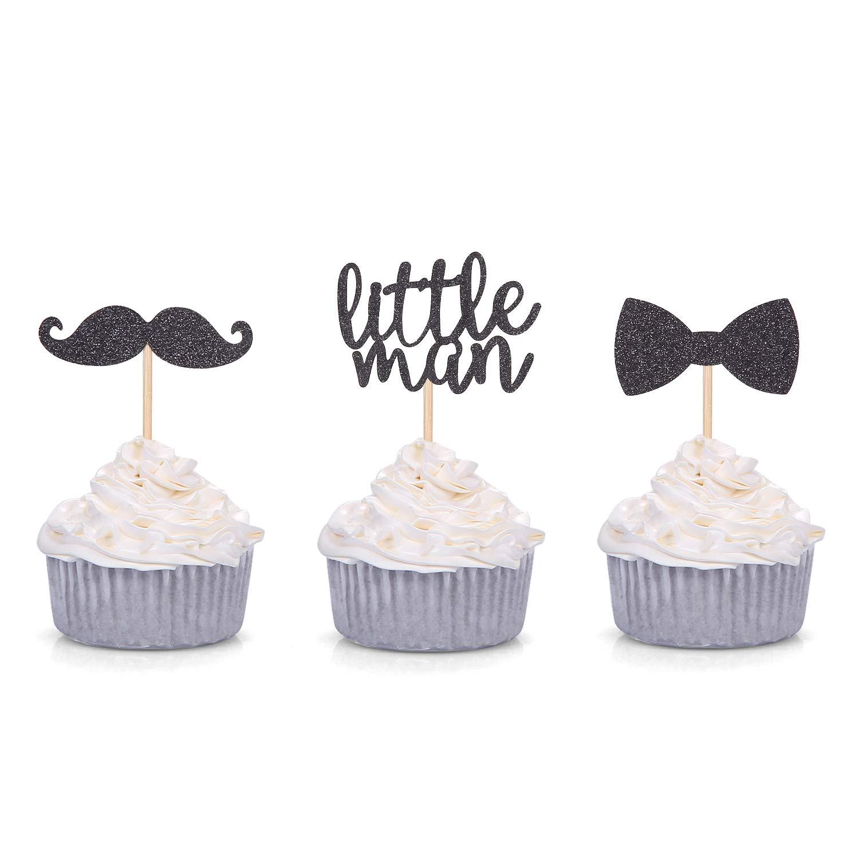 24 PCS Black Glitter Litter Man Mini Mustache Bowtie Cupcake for Baby Shower Kid's Birthday Party Decorations