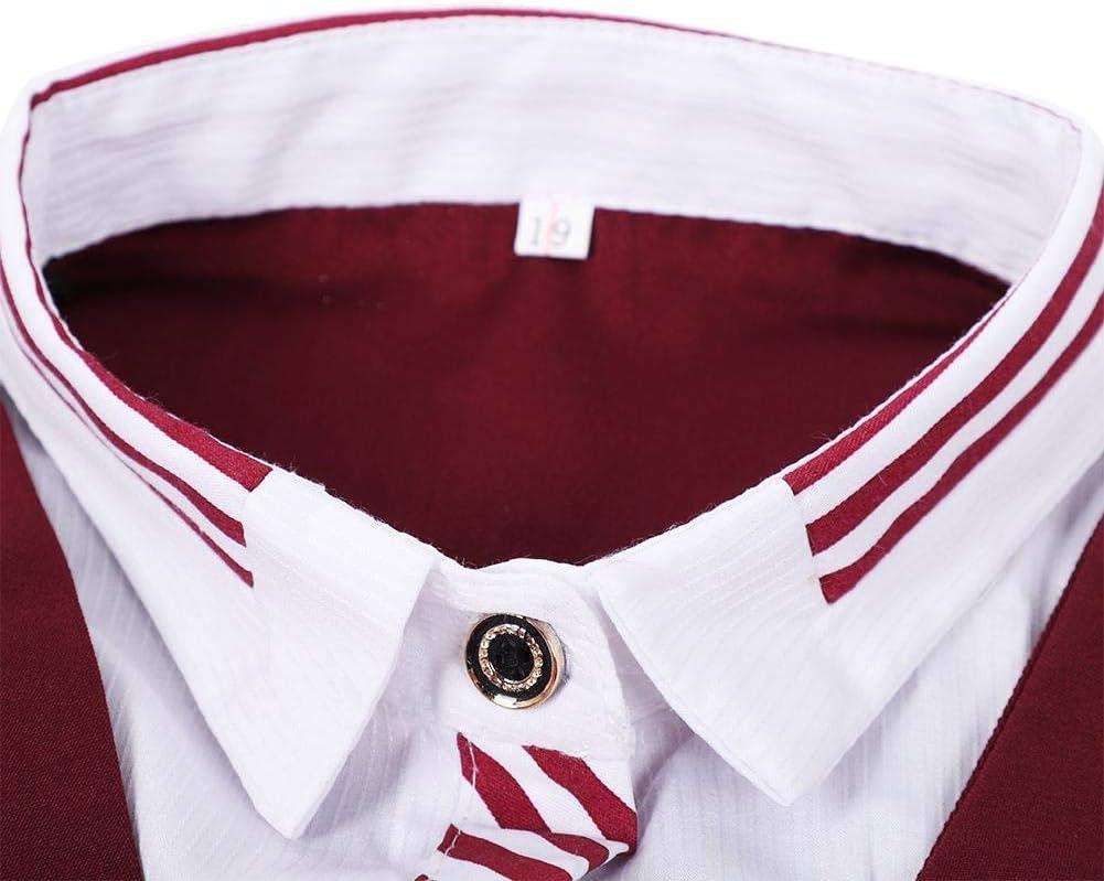 Naroote Falsa Camisa de Chaleco de Manga Larga de Dos Piezas, Uniforme para café Bar Camarero Ropa de Camarera(L): Amazon.es: Hogar