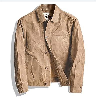 FANGLING-jacket Impermeable Hombres encerado de lona de algodón Chaqueta Luz de trabajo de color caqui (Color : Yellow, Size : L): Amazon.es: Ropa y accesorios
