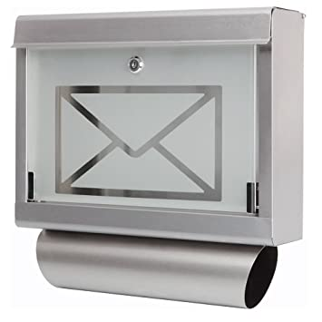 Grafner® Edelstahl Glas Designer Briefkasten Wandbriefkasten ...