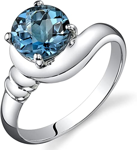 925 Sterling Silver Simulated Heart Shape Infinity w// Blue Topaz Ring sizes 5-9