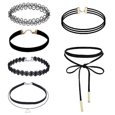 XGBDTJ 6Pcs / Set Gótico Tatuaje Collar Para Encaje De Encaje ...