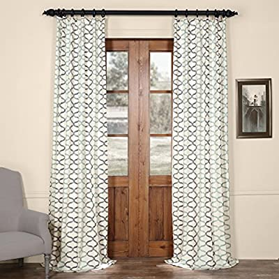 HPD HALF PRICE DRAPES PRCT-D02B-120 Illusions Printed Cotton Curtain, 50 X 120, Aqua Blue - Sold per panel 100Percent Cotton | lined 3Pole pocket with hook belt & back tabs - living-room-soft-furnishings, living-room, draperies-curtains-shades - 61%2BgTEGa0RL. SS400  -