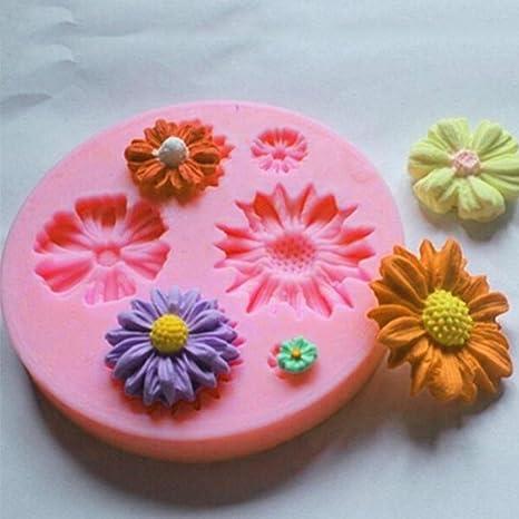 Flower205 Molde del silicón de la hornada de la forma de la flor del chocolate reutilizable