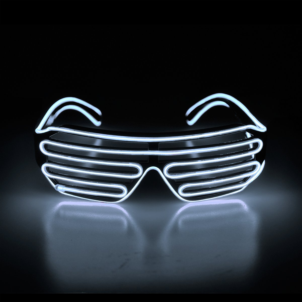 EDM Aquat Light Up Shutter LED Neon Rave Glasses El Wire DJ Flashing Sunglasses Glow Costumes Voice Activated For 80s Party RB02 Pink, Black Frame