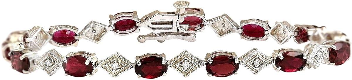6.24quilates color rojo Natural turmalina y diamante 14K oro blanco pulsera para mujer fabricado en Estados Unidos exclusivamente por Fashion Strada