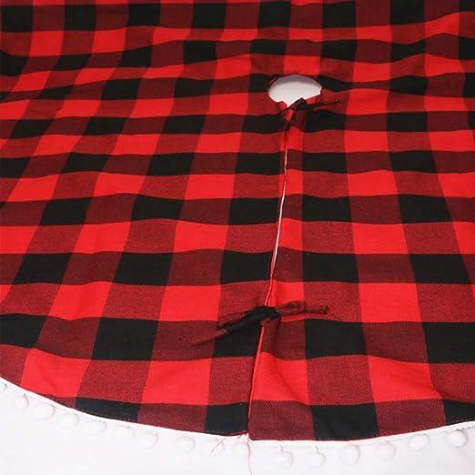 YIDOU Falda de árbol de Navidad de diseño a Cuadros Rojo y Negro ...