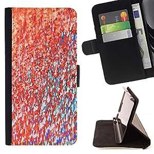 For Samsung Galaxy S5 V SM-G900 Case , Teal textura de la pintura abstracta rosada- la tarjeta de Crédito Slots PU Funda de cuero Monedero caso cubierta de piel