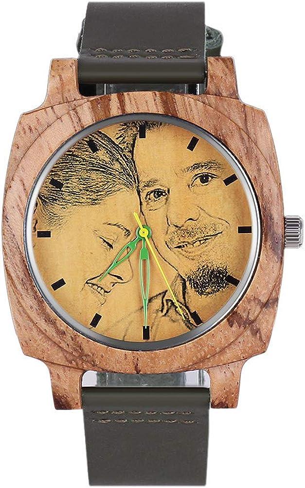 Housweety - Reloj de Pulsera Personalizado de Madera con Foto y Texto Grabado para Hombres y Mujeres