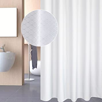 White Extra Long Shower Curtains 180 X 220cm Drop By EurcrossFabric Bathroom