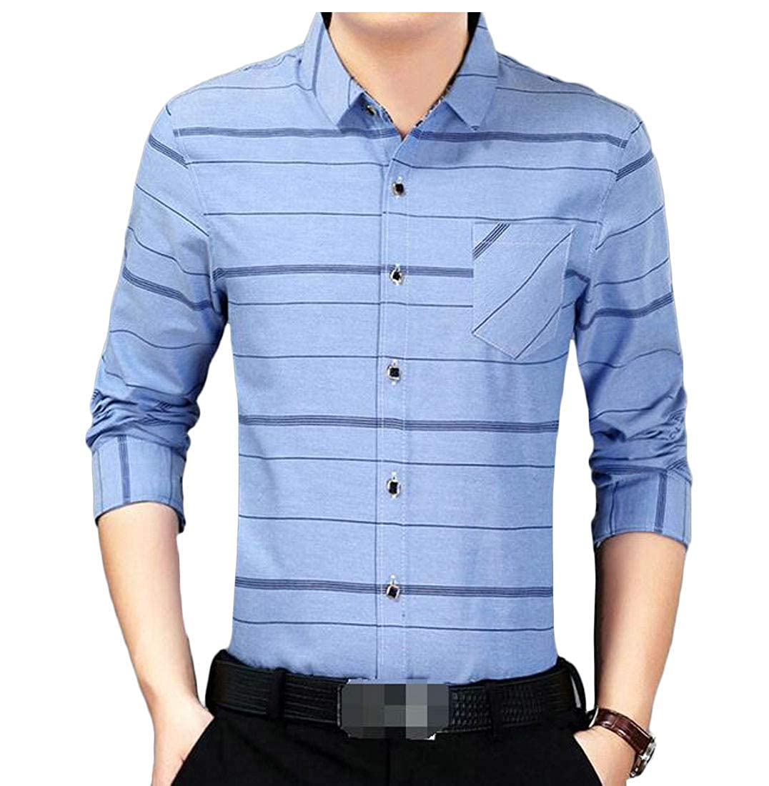 Lutratocro Mens Non-Iron Button Down Regular Fit Printed Long Sleeve Shirts