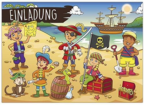 16 Einladungskarten zum Kindergeburtstag - Motiv Piraten - für Kinder, Jungen, Mädchen, Party Feier Geburtstagseinladungen im Set