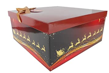 Christmas Gift Boxes With Lids.Christmas Gift Box With Lid Bow Tissue Tag 32x32x15cm Red Gold Reindeer