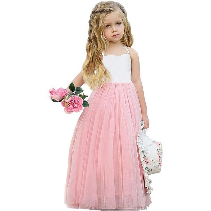 Amazon.com: Vestido de boda de malla para niñas pequeñas ...