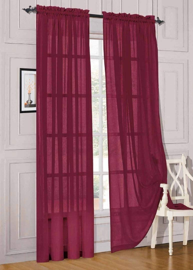 Elegant Comfort® 2 Piece Solid SHEER PANEL with ROD POCKET - Window Curtain 40-inch width X 84-inch Length - Burgundy