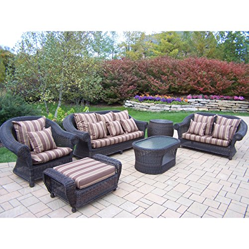 Oakland Living Corporation Saratoga Outdoor Wicker Cushioned Seating Set (Wicker Saratoga)