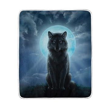 Alaza Blue Moon Und Wolf übergroße überwurf Decken Für Polyester
