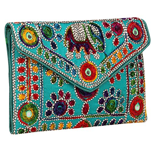 6 Girls Women Sling Art amp; for Green Rajasthani Bag Foldover Inches Clutch 9 Jaipuri 6fdw76q