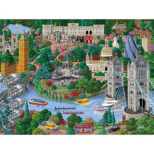Bits and Pieces - 300 Large Piece Jigsaw Puzzle for Adults - London City View - 300 pc England Jigsaw by Artist Joseph Burgess