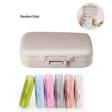 Leegoal Dispensador de Píldoras, Pastillero de 6 Compartimentos, Portable Caja de Medicina Organizador de