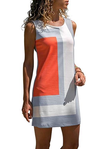 8593e71f1436 Itsmode Summer Casual Sleeveless Dresses for Women Geometric Color Block  Boho Tunic Mini Dress Juniors Loose
