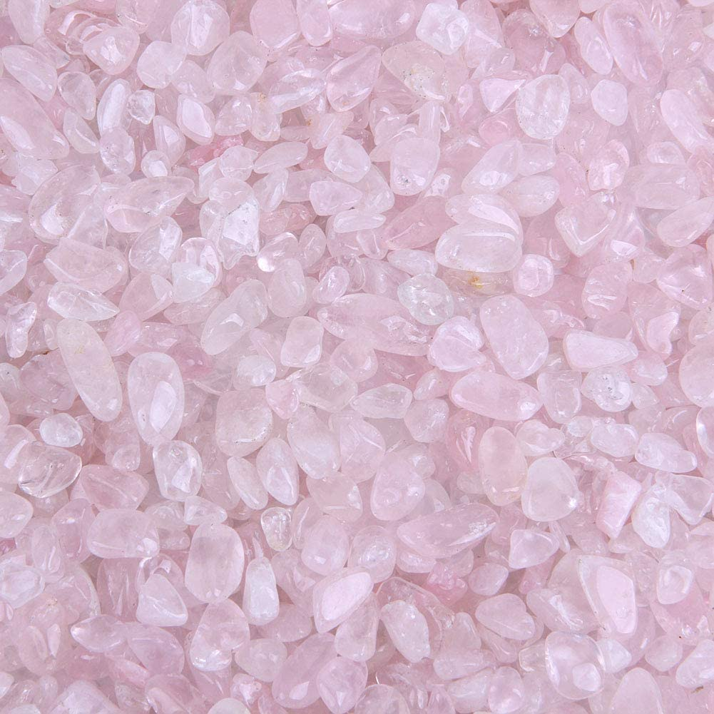 TGS Gems 5-10mm Each Rose Quartz Crystal Tumbled Chips Irregular Shaped Stones, 3lbs Bulk Bag of Crushed Healing Crystal Stones - Polished Pebbles for Decorating Succulent Planters, Fairy Gardens