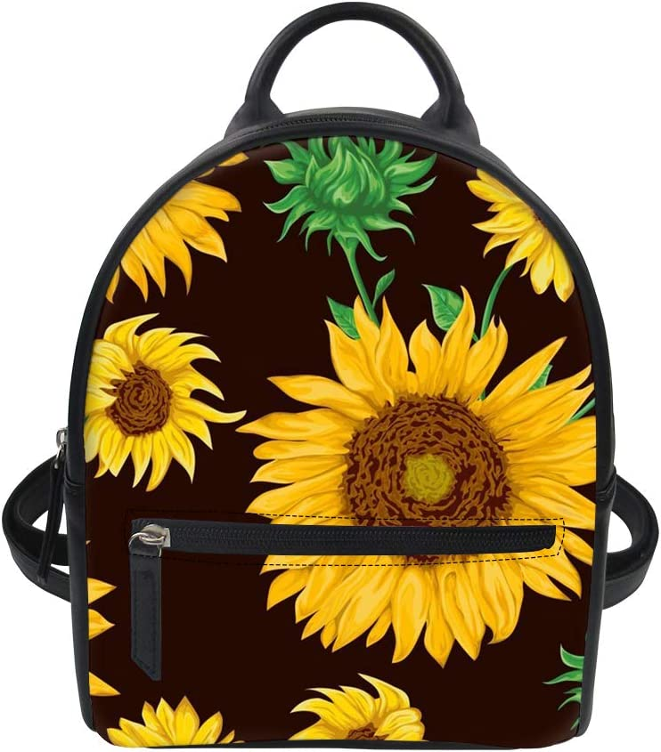 doginthehole Sunflowers Floral Leaves Leather Backpack Mini Black Water Resistant College Students Book Bags for Women and Girls