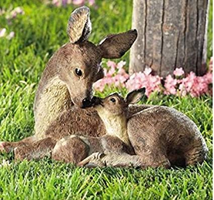 Deer Doe And Fawn Lying Outdoor Garden Statue