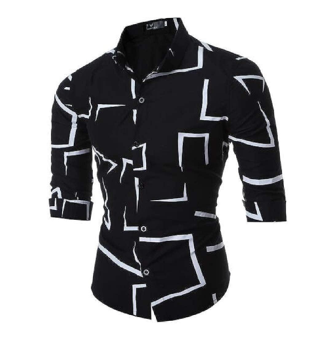 Pandapang Mens Button Down Long Sleeve Lapel Printed Trendy Shirts
