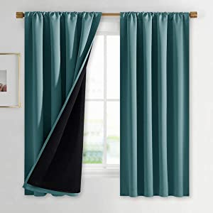 NICETOWN 100% Blackout Curtain Panels, Thermal Black Liner Curtains for Nursery Room, Noise Reducing and Heat Blocking Drapes for Windows (Set of 2, Sea Teal, 42 inches Wide by 63 inches Long)