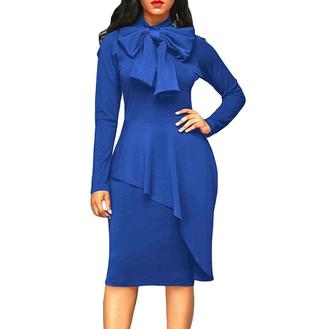 Funic Womens Tie Neck Peplum High Waist Long Sleeve Bodycon Dress Spring Knee-Length Dresses (L, Dark Blue)